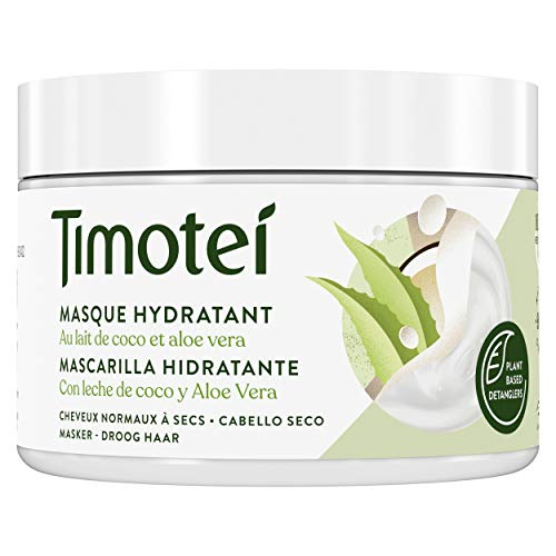 Timotei mascarilla hidratante para cabello seco con leche de coco y aloe vera con desenredantes de origen vegetal, 98% ingredientes de origen natural y sin siliconas 300ml