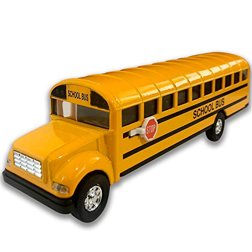 ArtCreativity Die Cast Yellow School Bus for Kids, 7 Inch Classic School Bus Toy with Pullback Mechanism, Durable Diecast Metal, Party Favors, Best Birthday Gift for Boys and Girls