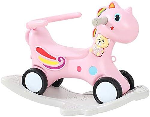 Schaukelpferd HUYP Kind Schaukelstuhl Dual-Use Baby Spielzeug Baby Geburtstagsgeschenk Rocking Cradles Girl (Farbe   Rosa)