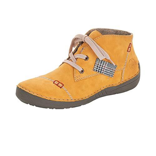 Rieker Damen Stiefeletten, Frauen Schnürstiefelette, halb-Stiefel schnür-Bootie übergangsschuh,Gelb(Honig),39 EU / 6 UK