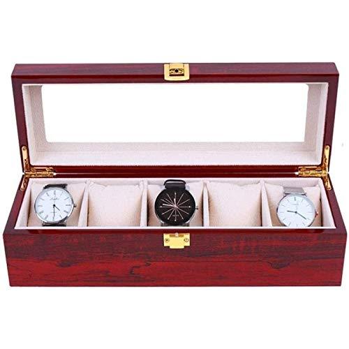 ZHANG Caja De Almacenamiento De Joyas Organizador De Relojes Caja De Almacenamiento De Cuero PU De 6 Ranuras Regalos Regalos De Cumpleaños para Hombres Y Mujeres Rojo