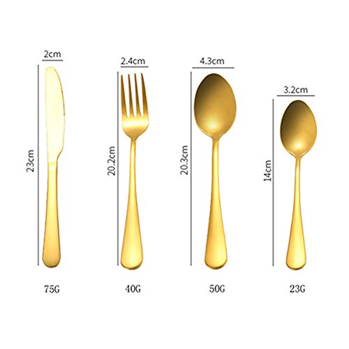 Egurs Juego de 4 cubiertos de acero inoxidable para casa, cocina, fiesta, restaurante dorado