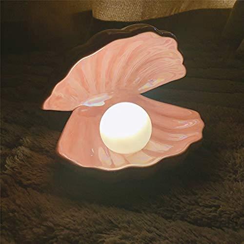 JYYA Japanischen Stil Keramik Muschel Perle Nachtlicht Streamer Meerjungfrau Fee Muschel Lampe für Nacht Dekoration Nachtlicht
