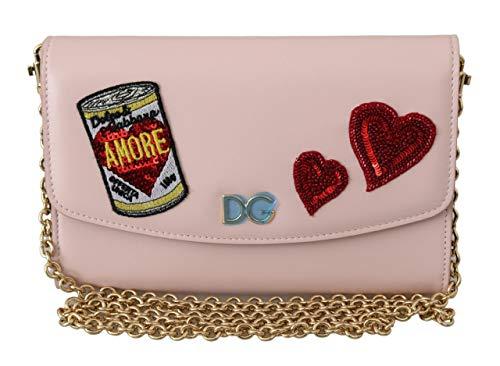 Dolce & Gabbana Bolso de cuero Borse de la cartera del hombro del parche de Amore rosa