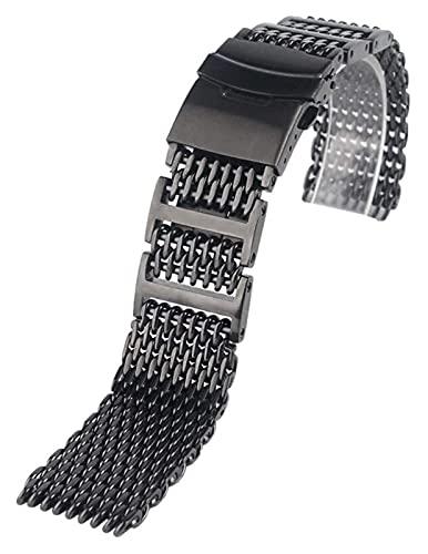 WSYGHP 20mm 22mm 24mm Uomo in Acciaio Inox Orologio in Acciaio Inox Cinturino in Maglia Cinturino da Polso di Lusso Sostituzione Black Push Button Guarda Cinturino Cinturino Cinturino Orologio d'oro