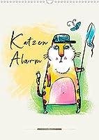 Katzen Alarm (Wandkalender 2022 DIN A3 hoch): Wunderschoene Katzen-Illustrationen, Katzen in aussergewoehnlichen Posen. (Monatskalender, 14 Seiten )