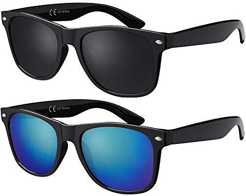 La Optica Original UV400 CAT 3 CE Unisex Sonnenbrille - Farben, Einzel-/Doppelpacks, Verspiegelt, Doppelpack Glänzend Schwarz (Gläser: Grau/Grün), 53