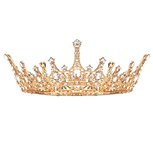 Makone Queen Crown for Womens Gold Tiara with Clear Rhinestone for Christmas Xmas Birthday Girls Prom Halloween Bridal Party
