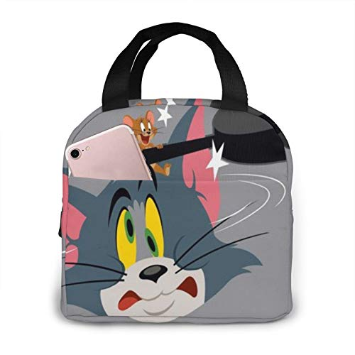 Suzzc Tom And Jerry Be Best Friends Reusable Insulated Lunch Bag Cooler Tote Box With Front Pocket Zipper Closure For Woman Man Work Picnic/Boating/Beach/Fishing