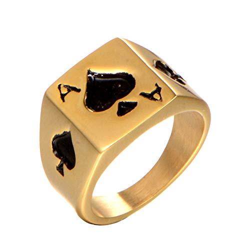 OAKKY Retro Estriado Afortunado Tarjeta Poker Ace of Spades Marcador Biker Anillo Hombre Acero Inoxidable Juegos Apuestas Casino Oro Tamaño 19