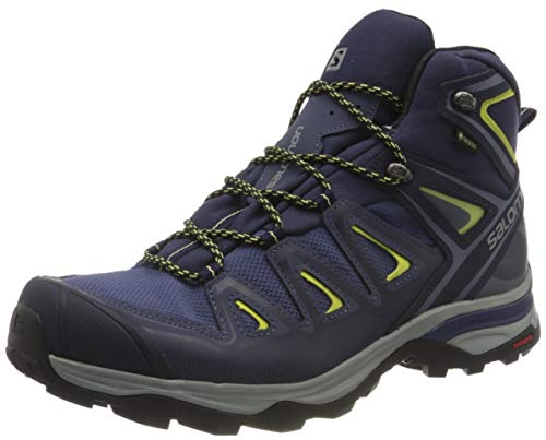 Salomon Women's X Ultra 3 Mid GTX Hiking Boots, Crown Blue/Evening Blue/Sunny Lime, 9