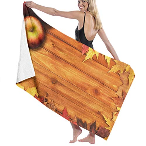 Toalla de playa de microfibra, hojas de arce dispuestas sobre toallas de baño de madera Toallas de viaje ligeras de secado rápido Toalla de baño de playa ultra absorbente Toalla de piscina Toallas de