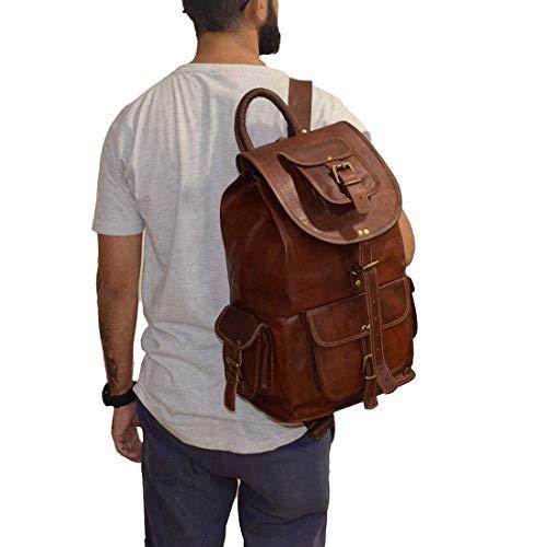 Parrys Leather World 20' Rustic Vintage leather Backpack Bag Rucksack Laptop Bag Briefcase Messenger Bag Computer Bag for Men Women Backpack Brown Leather Bag Office Briefcase for Men Women Pittu Bag, 20' Large