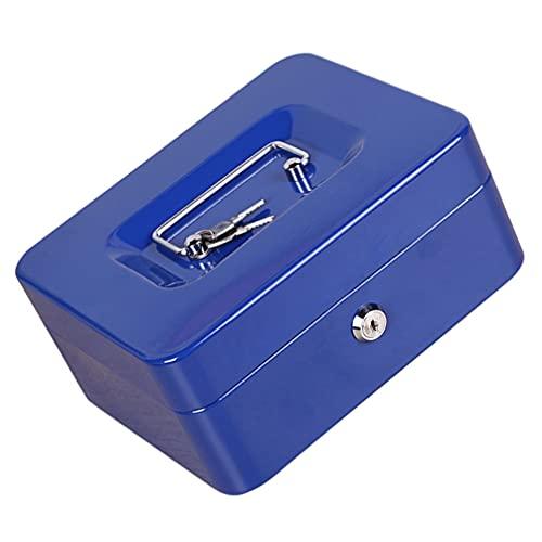 Cabilock Caja de Dinero Metal Caja de Dinero con Llave de Bloqueo Pequeña Caja de Bloqueo Portátil Medio Contenedor de Efectivo a Prueba de Fuego Documento Organizador Seguro para La