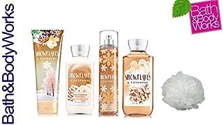 Bath & Body Works SNOWFLAKES & CASHMERE Deluxe Gift Set Lotion ~ Cream ~ Fragrance Mist ~ Shower Gel + & FREE Shower Sponge Lot of 5