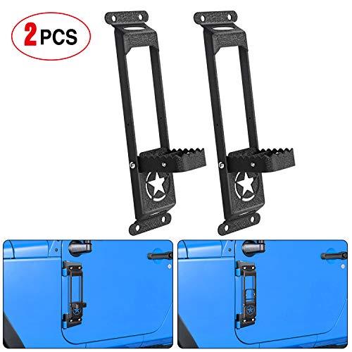 Nilight Door Hinge Steps - Metal Foldable Foot Pegs Exterior Car Accessories for 2007-2017 Jeep Wrangler JK JKU & 2018-2020 Jeep Wrangler JL JKU - Pack of 2