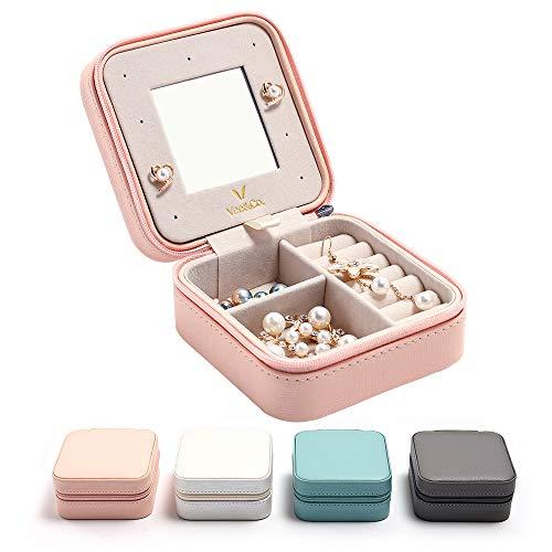 Vee Schmuckkästchen Schmuckbox mit Spiegel Schmuckkoffer Schmuckschatulle Schmucketui Aufbewahrungsbox Jewelry Box Uhrenbox Ringbox Damen - Rosa