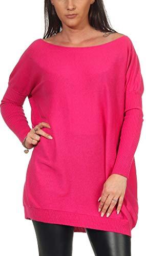 Jela London Damen Oversize Kuschel-Pullover Sonntagspulli Longpulli, Pink