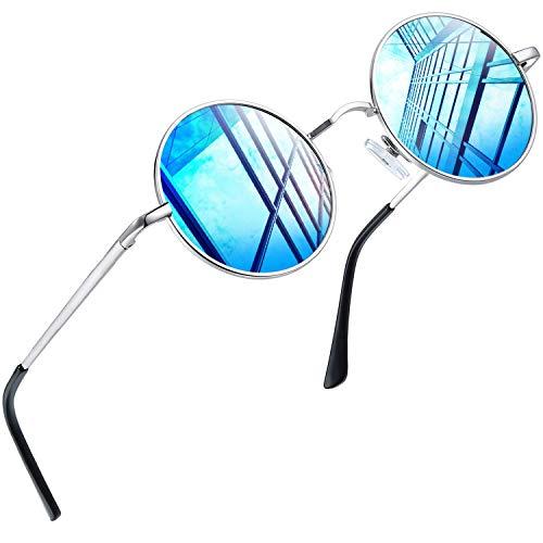 Joopin Retro Verspiegelte Sonnenbrille Damen UV400 Schutz - John Lennon Kreis Polarisiert Sonnenbrille Herren Blau Gläser