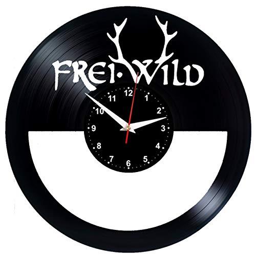 EVEVO Freiwild Frei.Wild Wanduhr Vinyl Schallplatte Retro-Uhr Handgefertigt Vintage-Geschenk Style Raum Home Dekorationen Tolles Geschenk Wanduhr Freiwild Frei.Wild