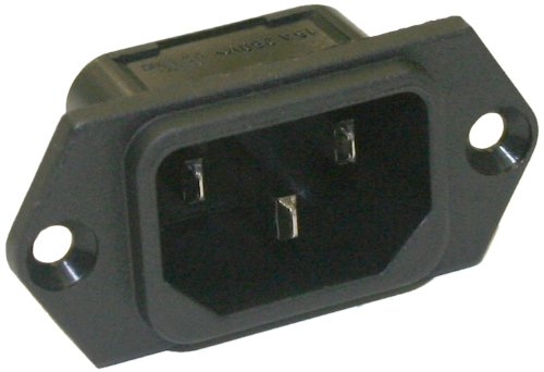 Interpower 8301213 IEC 60320 C14 Screw Mount Power Inlet with Quick Disconnects, IEC 60320 C14 Socket Type, Black, 10A/15A Rating, 250VAC Rating