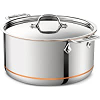 All-Clad 8-Quart 6508 SS Copper Core 5-Ply Bonded Dishwasher Safe Stockpot/Cookware with Lid (Second Quality) (Silver)