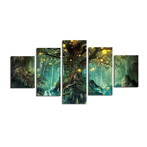 XuFan 5 Kombinationsbilder von grünen Jahrtausendbäumen & Glühwürmchen, gedruckt auf Leinwand, Künstlerresidenz, dekorative Poster, 20x30cm-2p, 20x40cm-2p, 20x50cm-1p, ohne Rahmen