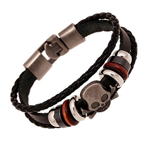 ZSCRL Herren Motorrad Armband Punk Schmuck Leder Armband Mode Vintage Herren Armband Schwarz