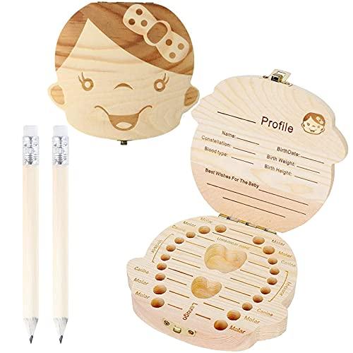 Tandenbox hout met 2 pennen om de geschiedenis van de tandfee vast te houden, voor het bewaren van tanden, geboorteband…