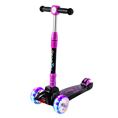SULIVES 3 Wheel Scooter for Kids Ages 2-12 - Height Adjustable, Back Wheel Brake, Extra-Wide Deck with 4 Light-Up Wheels, Best Gifts for Boys and Girls Toddler(Rose Pink)