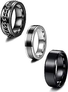 LOLIAS 3PCS Herren Ringe Schwarz Edelstahl Ringe für Herren Männer Breit Ringe Kette Ring Drehbarer Herren Schwarz Ring Verlobung Freundschaftsring Vintage Ringe für Männer