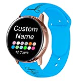 AIPNIS Custom Name 20mm 22mm Bands Compatible with Samsung Galaxy Watch Active/Active 2 40mm 44mm/Garmin Watch/Asus Zenwatch 2,Personalized Gifts Soft Silicone Sport Replacement Bands Suitable