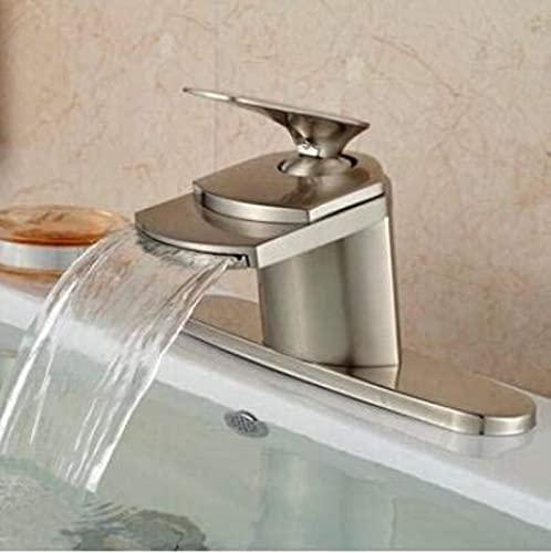 TEPET Grifo níquel Cepillado Monomando Cascada baño Fregadero Recipiente Grifo Mezclador de Lavabo