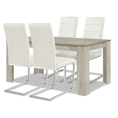 agionda ® Esstisch Stuhlset : 1 x Esstisch Toledo Eiche Sandeiche 140 x 90 4 Freischwinger weiß