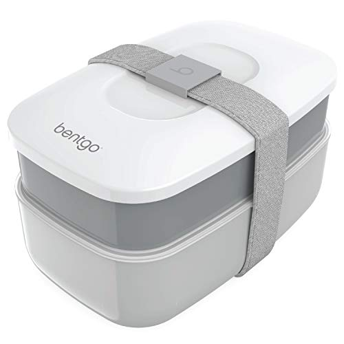 Bentgo Classic - All-in-One Stackable Bento Lunch Box Container - Modern Bento-Style Design Includes 2 Stackable Containers, Built-in Plastic Utensil Set, and Nylon Sealing Strap (Gray)