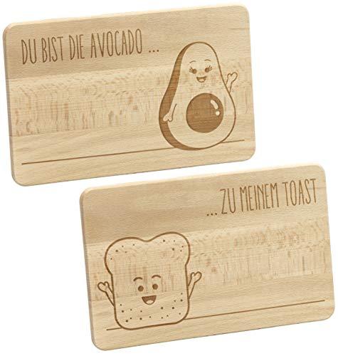 LAUBLUST Frühstücksbrettchen 2er Set Avocado und Toast - Vorgraviert | 24x15x1cm, Natur, FSC® - Frühstücksbrett | Dekotafel | Geschenk-Brett