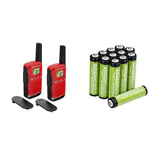 Motorola T42 Red Walkie Talkie PMR446, 16 Canales, Alcance 4 km, Rojo, 2 Unidades + Amazon Basics Pilas AAA Recargables, precargadas, Paquete de 12 (el Aspecto Puede Variar)