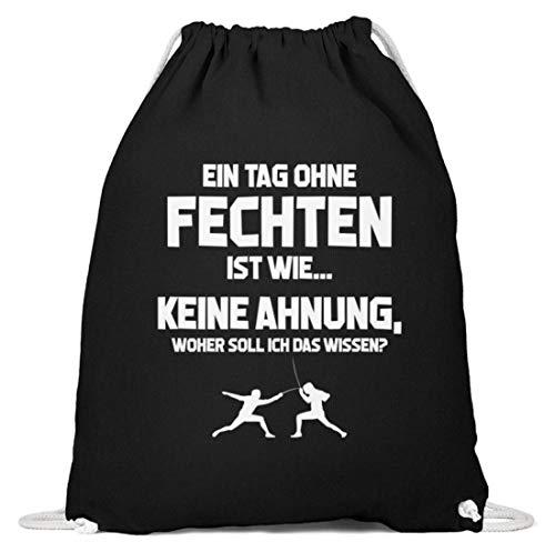 shirt-o-magic Fechter: Tag ohne Fechten? Unmöglich! - Baumwoll Gymsac -37cm-46cm-Schwarz