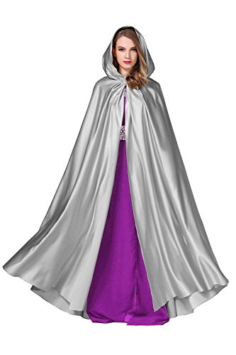 Women's Wedding Hooded Cape Bridal Cloak Poncho Full Length Dark Silver