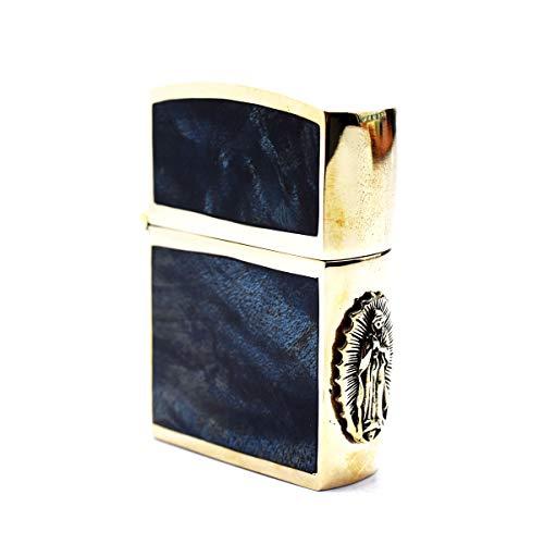 good vibrations グッドバイブレーションズ カオス別注 ZIPPO型 ブラスケースライター 重厚 真鍮製 ソリッドブラスオイルライター スタビライズドウッド ネイビーマーブル ブラスマリアメタル 真鍮無垢 ゴシックデザイン CHAOS