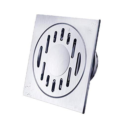 HXCD Bodenablauf Quadratische geruchsneutrale Duschablaufkanalsiebe Kupfer Anti-Verstopfung Große Feste Duschköpfe (Farbe: Silber, Größe: 10 x 10 x 8,5 cm)