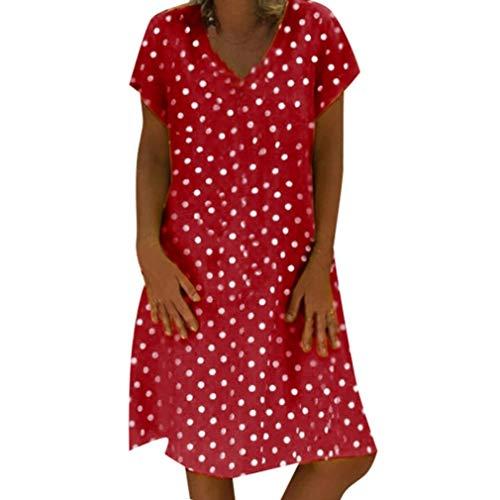 ASHOP - Vestido de encaje para mujer, vestido de playa de verano, de moda, profundo cuello en V, vestido de fiesta, bar, sexy rojo S