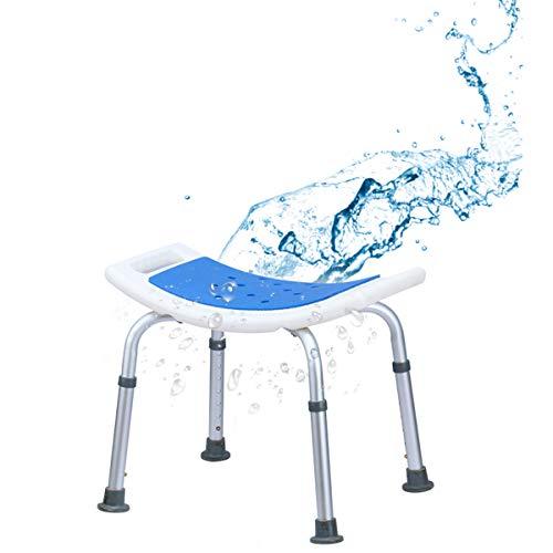 COSTWAY Shower Chair with Handles, Height Adjustable Padded Tub Shower Seat, Elderly Handicap Non-Slip Disabled Bathroom Bathtub Stools