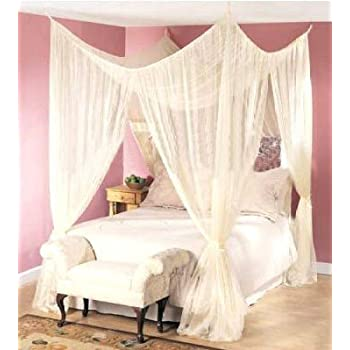 Amazon Com Dreamma 4 Poster Bed Canopy Mosquito Net Queen King Size Home Kitchen