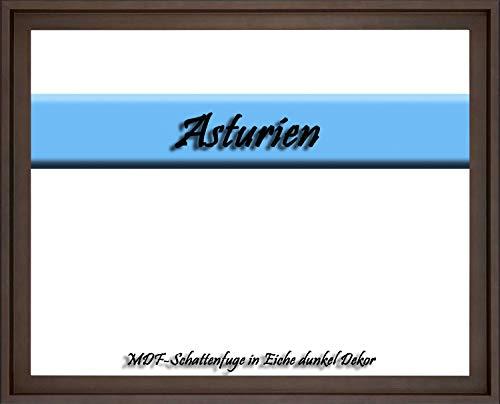 MDF-Leerrahmen ASTURIEN speziell für Leinwandbilder BZW. Keilrahmenbilder im Format 75 x 115 cm. Schattenfugenrahmen in der Farbe: Eiche dunkel Dekor. 10 Farben zur Auswahl