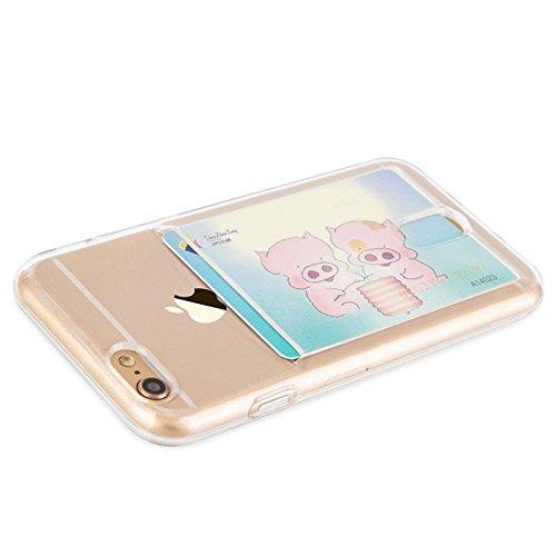 Funda Compatible iPhone 6 Plus / 6S Plus con Tarjetero para Tarjetas (Silicona Gel Transparente), Funda de TPU de Alta Resistencia y flexibilidad Apple. Diseño Exclusivo de Diirihiiri