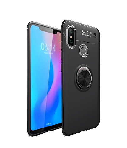 Funda Xiaomi Mi A2 Teléfono Móvil Silicona Bumper Case Funda con Anillo Giratorio de 360 Grados Rotaria Ring Holder Protectora Caso (6, Xiaomi Mi A2)