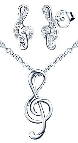 Yumilok-S925 plata esterlina exquisita nota musical colgante collar de circonio plata esterlina circonita pendientes de oreja tachonados de diamantes pendientes de nota musical