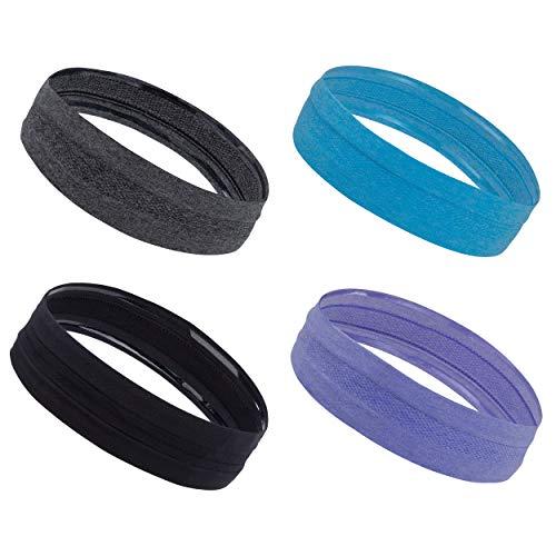 Sport Stirnband, Elastische Wicking Haarband für Herren und Damen, Anti Rutsch Schweißband für Yoga, Jogging, Laufen, Wandern, Tennis, Fahrrad, Fitness und Motorrad Fahren (4er Pack)