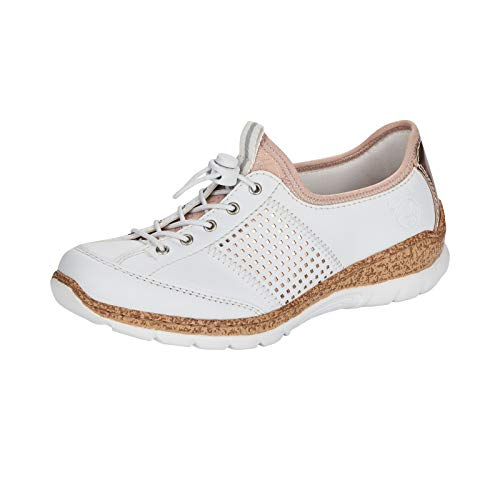 Rieker Damen Low-Top Sneaker N42G8, Frauen Halbschuhe,Ladies,Women's,Woman,Halbschuhe,straßenschuhe,Freizeit,sportlich,Weiss (80),39 EU / 6 EU